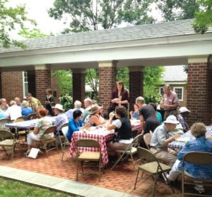 Sharing food and fellowship on a warm spring day after worship.